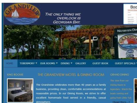 www.grandview-tobermory | grandview motel & dining room